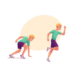 male runner sprinter jogger ready to start and vector image