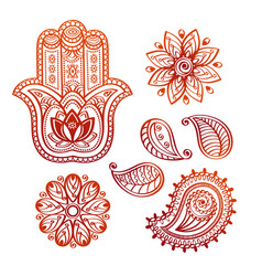 Mehndi tattoo doodle elements with hamsa hand vector