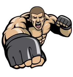 mma fighter throw a punch vector image