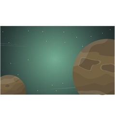 Outer space cartoon with planet of landscape vector