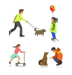 People outdoor activity walking playing vector
