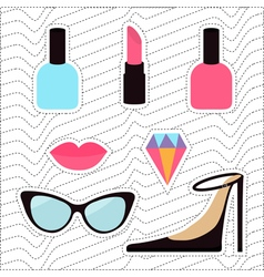 Quirky cartoon sticker patch badge set Woman vector image