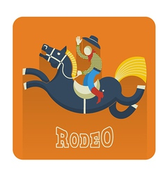 Rodeo iconCowboy on horse vector image