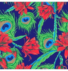 Seamless pattern with flowers and feathers vector