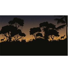 Silhouette of jungle beauty landscape vector