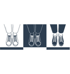 Silhouettes of feet in shoes vector