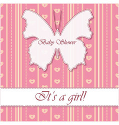 Striped-background-baby-shower-butterfly-girl vector image