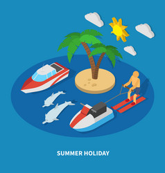 Summer holiday isometric composition vector