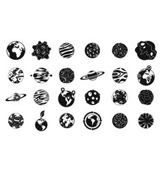 universe planet icon set simple style vector image vector image