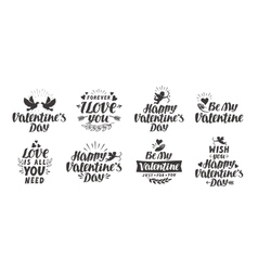 Valentine s day set labels icons and decorative vector