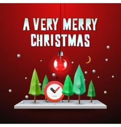 Very Merry Christmas greeting card vector image vector image