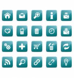 web icons glossy blue blue vector image