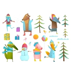 Winter season holiday animals clip art collection vector image vector image