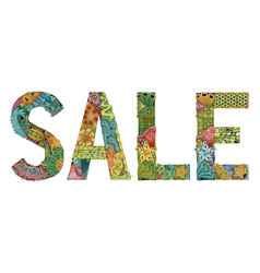 Word sale decorative zentangle object vector