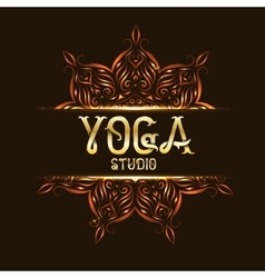 Youga studio emblem logo with mandala vector