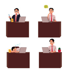young businessman sitting at office desk working vector image vector image