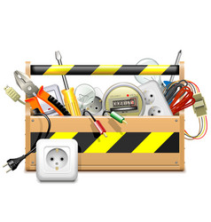 Toolbox with Electric Accessories vector image