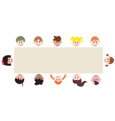 Multicultural children around a blank banner vector