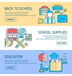 Education horizontal linear banners vector