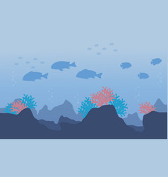 Silhouette of fish in the ocean vector