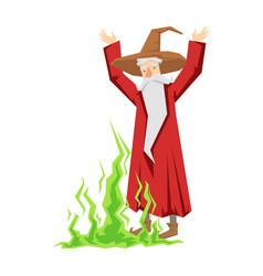 Wizard waving with both hands colorful fairy tale vector