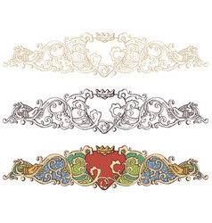 Set of renaissance crowned heart borders vector