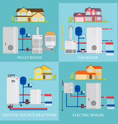 Types of heating systems vector