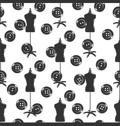 Tailor shop seamless pattern with dummy and vector
