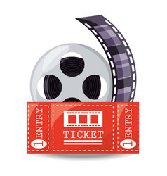 Reel filmstrip with ticket to short film vector
