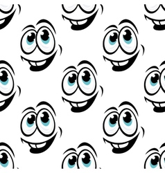 Seamless background pattern of cartoon happy faces vector