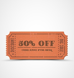 Orange vintage sale coupon vector