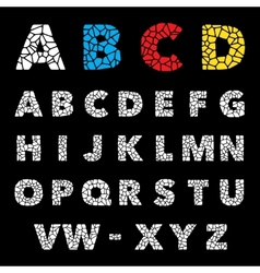Mosaic puzzle alphabet set design vector