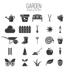 Set icon of garden vector