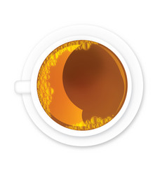 Tea in teacup with bubbles vector