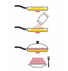 Instructions cooking fried shrimp pan fry seafood vector