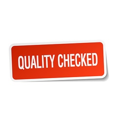Quality checked red square sticker isolated on vector