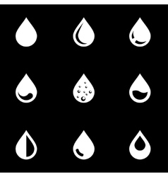 White drop icon set vector