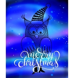 Merry christmas hand lettering inscription with vector