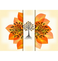 Abstract trees with golden leaves vector image vector image