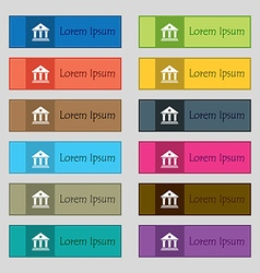 bank icon sign Set of twelve rectangular colorful vector image