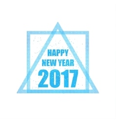 Beautiful greeting card with the new 2017 in blue vector