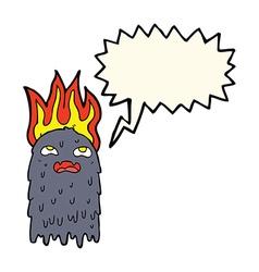 Burning cartoon ghost with speech bubble vector