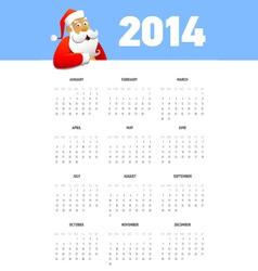 Calendar 2014 with Santa vector image