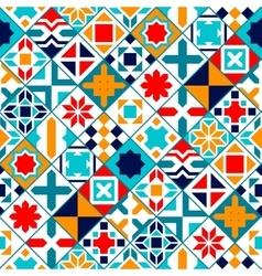 Colorful diagonal geometric tiles seamless pattern vector image vector image