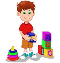 Cute boy cartoon playing lego vector