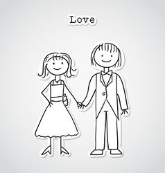Cute cartoon couple vector image