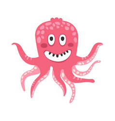 Cute smiling cartoon pink octopus character funny vector