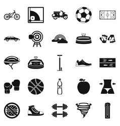 cycling clothes icons set simple style vector image vector image