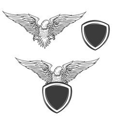 eagle on shield isolated on white background vector image vector image