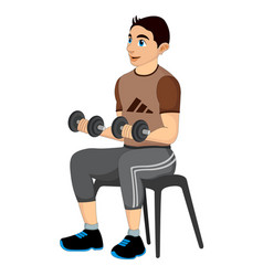 Exercising man lifting dumbells vector